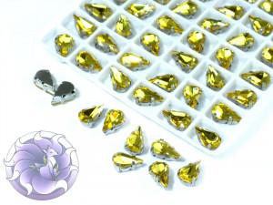 Кристалл в серебряной оправе Капля 10x6мм Светлый топаз