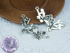 Коннектор для украшений 20х45 цвет серебро