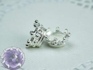 Шапочка-корона для бусин овал 14х10х7мм цвет Серебро