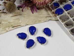 Стразы Капля в серебряной оправе 14*10мм цвет Синий
