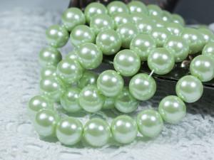 Жемчуг стеклянный 10мм 21шт цвет Весенняя зелень