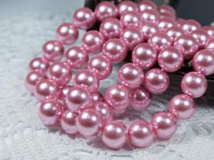 Жемчуг стеклянный 10мм 21шт цвет Розовый