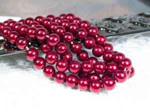Жемчуг стеклянный 8мм 27шт цвет Красный