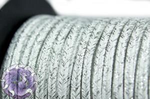 Сутажный шнур шелковый с люрексом Италия 3мм Белый с серебром
