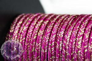 Сутажный шнур шелковый с люрексом Италия 3мм Малиновый с золотом