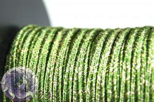 Сутажный шнур шелковый с люрексом Италия 3мм Зелёный с золотом