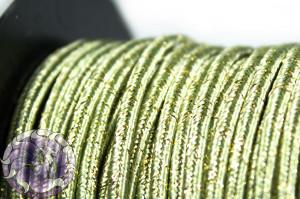 Сутажный шнур шелковый с люрексом Италия 3мм Нарцисовый с золотом