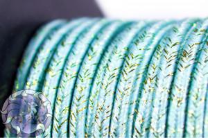 Сутажный шнур шелковый с люрексом Италия 3мм Голубая волна с медью