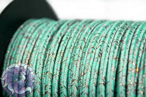 Сутажный шнур шелковый с люрексом Италия 3мм Мятный с медью