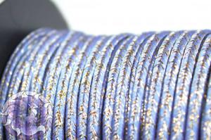 Сутажный шнур шелковый с люрексом Италия 3мм Сиренево-голубой с медью