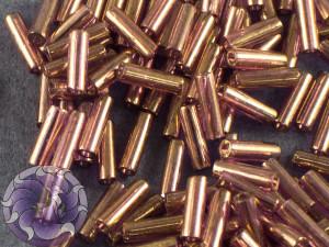 Стеклярус TOHO bugle #2 6мм Gold-Lustered Lt Amethyst