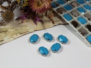 Стразы Овал в серебряной оправе 14*10мм цвет Голубой